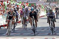 Daniele Bennati (l) comes winner to the finish line during the stage of La Vuelta 2012 beetwen Aguilar de Campoo-Valladolid in presence of Ben Swift (c), Allan Davis (r) and John Degenkolb (b).September 6,2012. (ALTERPHOTOS/Paola Otero) /NortePhoto.com<br /> <br /> **CREDITO*OBLIGATORIO** <br /> *No*Venta*A*Terceros*<br /> *No*Sale*So*third*<br /> *** No*Se*Permite*Hacer*Archivo**<br /> *No*Sale*So*third*