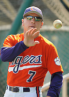 Head coach Jack Leggett (7) of the Clemson Tigers in a game against the Michigan State Spartans on Sunday, Feb. 27, 2011, at Fluor Field in Greenville, S.C. Photo by Tom Priddy/Four Seam Images