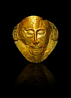 "Gold Death Mask Known as the ""mask of Agamemnon""  from Grave V, Grave Circle A, Mycenae. The mask is made of a thin sheet of beaten gold & shows a man with a beard. 16th century BC. Cat No 624 Athens Archaeological Museum."