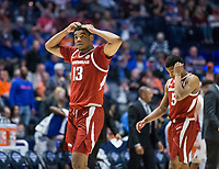 NWA Democrat-Gazette/BEN GOFF @NWABENGOFF<br /> Mason Jones (13) and Jalen Harris, Arkansas guards, react in the second half vs Florida Thursday, March 14, 2019, during the second round game in the SEC Tournament at Bridgestone Arena in Nashville.