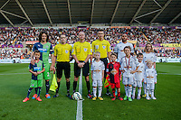 Saturday 4th  October 2014 Pictured: Pre Match Lineup <br /> Re: Barclays Premier League Swansea City v Newcastle United at the Liberty Stadium, Swansea, Wales,UK