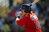 Boston Red Sox catcher Ryan Hanigan (10) on deck during a Spring Training game against the Pittsburgh Pirates on March 9, 2016 at McKechnie Field in Bradenton, Florida.  Boston defeated Pittsburgh 6-2.  (Mike Janes/Four Seam Images)