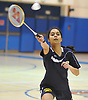 Shimona Agarwal of Jericho returns a volley during the Nassau County varsity girls badminton doubles championship at Long Beach High School on Saturday, May 13, 2017. She and doubles partner Anvita Bhaskara bested Samantha Trabold and Caleigh Alfarone of Calhoun in the finals to claim the county title.
