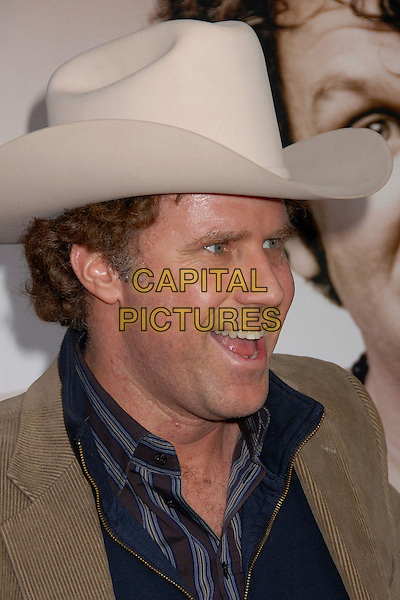 "WILL FERRELL.""Walk Hard: The Dewey Cox Story"" Los Angeles Premiere at Grauman's Chinese Theatre, Hollywood, California, USA..December 12th, 2007.headshot portrait white cream cowboy hat stetson mouth open.CAP/ADM/BP.©Byron Purvis/AdMedia/Capital Pictures."