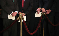 U.S. senators and congressmen stand behind a velvet rope during memorial ceremonies for former President George H.W. Bush in the U.S. Capitol Rotunda in Washington, U.S., December 3, 2018. <br /> CAP/MPI/RS<br /> &copy;RS/MPI/Capital Pictures