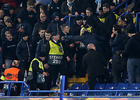 Could be a long night for the stewards as the Malmo Ultras try to make sure they are all together in the same block of the stand during Chelsea vs Malmo FF, UEFA Europa League Football at Stamford Bridge on 21st February 2019