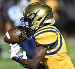 Althoff running back Jayden Cosey hauls in a pass from quarterback Will Ache. Mater Dei played football at Althoff on Friday September 13, 2019. <br /> Tim Vizer/Special to STLhighschoolsports.com