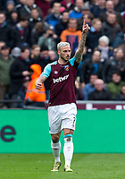 Marko Arnautovic of West Ham United celebrates his first goal during the EPL - Premier League match between West Ham United and Southampton at the Olympic Park, London, England on 31 March 2018. Photo by Andy Rowland.