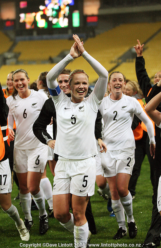 NZ captain Bri Fisher leads her team in thanking the crowd during the FIFA Women's Under-17 World Cup pool match between New Zealand and Columbia at Westpac Stadium, Wellington, New Zealand on Tuesday, 4 November 2008. Photo: Dave Lintott / lintottphoto.co.nz