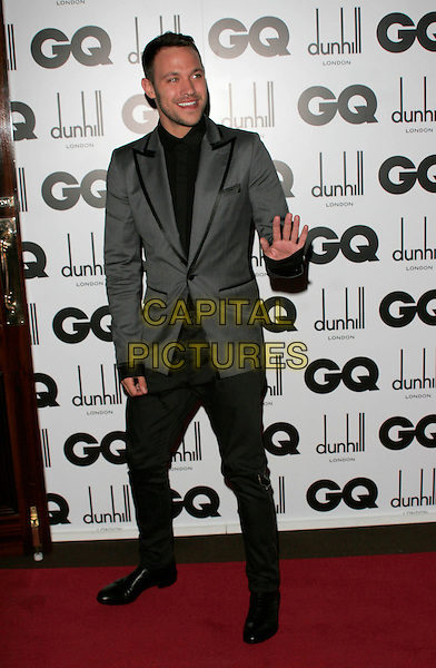 WILL YOUNG.Inside Arrivals at the GQ Men of the Year Awards at the Royal Opera House, Covent Garden, London, England,.2nd September 2008..full length jacket suit blazer shirt  black grey gray beard stubble hand waving .CAP/AH.©Adam Houghton/Capital Pictures