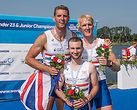 Rotterdam. Netherlands. GBR M2+. Bow. Oliver COOK,  Callum MCBRIERTY, Cox. Henry FIELDMAN, Gold Medalist. Non Olympic Classes World Championships, Finals.  2016 JWRC, U23 and Non Olympic Regatta. {WRCH2016}  at the Willem-Alexander Baan.   Saturday  27/08/2016 <br /> <br /> [Mandatory Credit; Peter SPURRIER/Intersport Images]