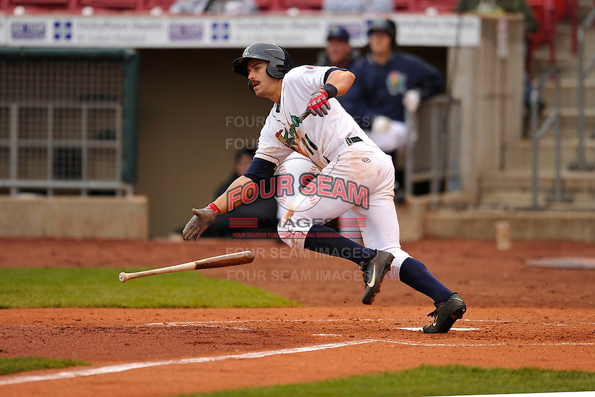 Jason Kanzler #11 of the Cedar Rapids Kernels heads towards first base against the Kane County Cougars at Perfect Game Field on May 1, 2014 in Cedar Rapids, Iowa. The Kernels won 5-2.   (Dennis Hubbard/Four Seam Images)