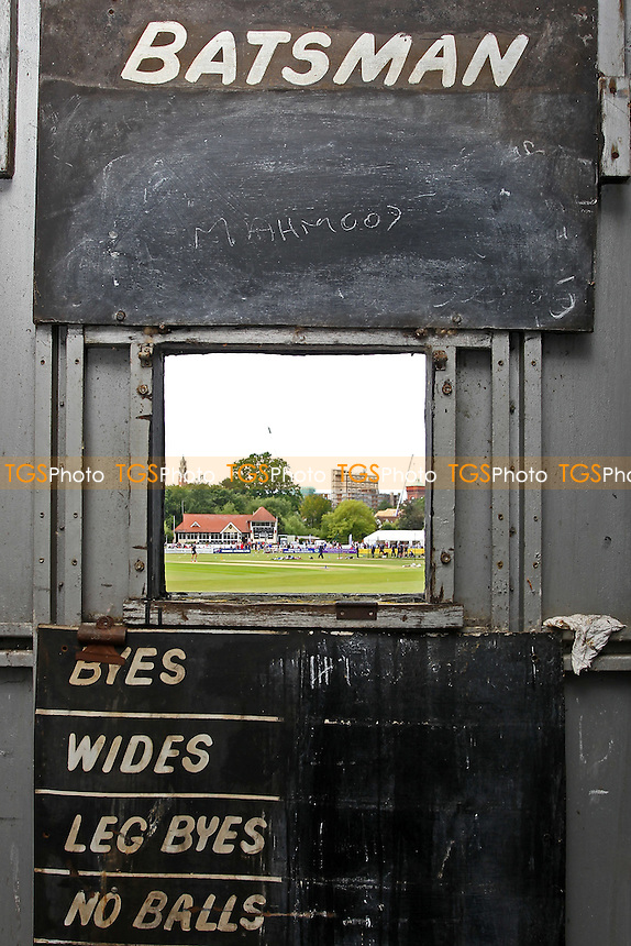 General view of the ground from inside the portable scoreboard used at Castle Park