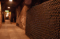 Bottles aging in the cellar. Gratien & Meyer, Saumur, Loire, France
