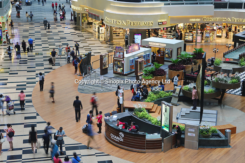 Shops, restaurants, cinema at Changi airport, Terminal 3, Singapore, 13 August 2015.