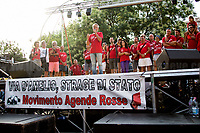 """Walter Palagonia - Member """"L'Orablù"""" Cyclists - """"L'Agenda Ritrovata"""" (The Re-Found Notebook). <br /> <br /> Palermo (Sicily - Italy), 19/07/2017. """"Basta depistaggi e omertà di Stato!"""" (""""Stop disinformation & omertá by the State!"""")(1). Public event to commemorate the 25th Anniversary of the assassination of the anti-mafia Magistrate Paolo Borsellino along with five of his police """"scorta"""" (Escorts from the special branch of the Italian police force who protect Judges): Agostino Catalano, Emanuela Loi (The first Italian female member of the police special branch and the first woman of this branch to be killed on duty), Vincenzo Li Muli, Walter Eddie Cosina and Claudio Traina. The event was held at Via D'Amelio, the road where Borsellino was killed. Family members of mafia victims, amongst others, made speeches about their dramatic experiences, mafia violence and unpunished crimes, State cover-ups, silence ('omertá'), and misinformation. Speakers included, amongst others, Vincenzo Agostino & Augusta Schiera, Salvatore & Cristina Catalano, Graziella Accetta, Massimo Sole, Paola Caccia, Luciano Traina, Angela Manca, Stefano Mormile, Ferdinando Imposimato, Judge Nino Di Matteo. The event ended with the screening of the RAI docu-fiction, 'Adesso Tocca A Me' ('Now it's My Turn' - Watch it here: http://bit.ly/2w3WJUX ).<br /> <br /> For more info & a video of the event please click here: http://bit.ly/2eQfNT3 & http://bit.ly/2eQbmrj & http://19luglio1992.com & http://bit.ly/2he8hCj<br /> <br /> (1) 'Omerta' is the term used in Italy to refer to the code of silence used by mafia organisations, as well as the culture of silence that is entrenched in society at large (especially among victims of mafia crimes, as they fear recriminations), about the existence of organised crime and its activities."""