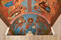 Pictures and images of frescoes inside the chapel in the historic medieval Kintsvisi Monastery Georgian Orthodox Monastery complex, Shida Kartli Region, Georgia (country).<br /> <br /> Kintsvisi Monastery is the best preserved example of Georgian architecture of the 12th and 15th centuries, the so called Georgian Golden Age.