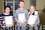 SMILES: Joan Flynn (Castlemaine), Michael Wilkins (Listry) and Heather Grey (Castlemaine) Presentation Secondary School, Miltown,who were over the moon with their leaving cert results on Wednesday.