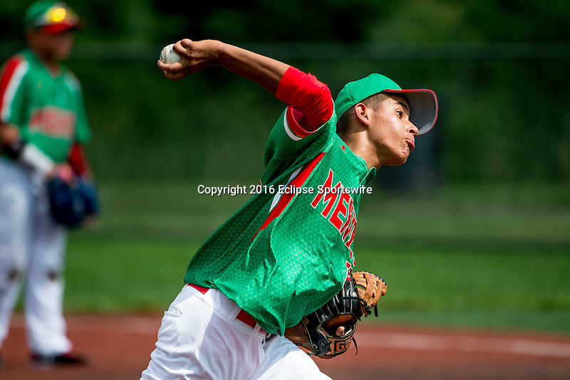 ABERDEEN, MD - AUGUST 02: Jesus Morales #18 of Mexico pitches against Australia in a game between Australia and Mexico during the Cal Ripken World Series at The Ripken Experience Powered by Under Armour on August 2, 2016 in Aberdeen, Maryland. (Photo by Ripken Baseball/Eclipse Sportswire/Getty Images)