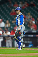 Kentucky Wildcats catcher Troy Squires (16) walks to the mound against the Houston Cougars in game two of the 2018 Shriners Hospitals for Children College Classic at Minute Maid Park on March 2, 2018 in Houston, Texas.  The Wildcats defeated the Cougars 14-2 in 7 innings.   (Brian Westerholt/Four Seam Images)