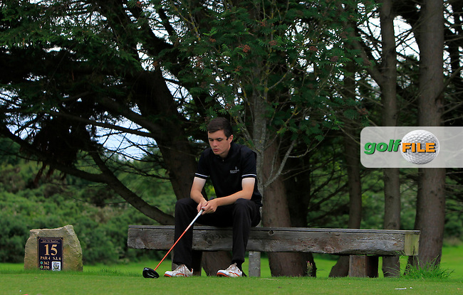 Charlie McDonnell (Castleblayney) taking a rest on the 15th tee during R2 of the 2016 Connacht U18 Boys Open, played at Galway Golf Club, Galway, Galway, Ireland. 06/07/2016. <br /> Picture: Thos Caffrey | Golffile<br /> <br /> All photos usage must carry mandatory copyright credit   (&copy; Golffile | Thos Caffrey)
