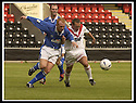 17/8/02               Copyright Pic : James Stewart                     .File Name : stewart-airdrie v stranraer 06.STRANRAER'S KEVIN GAUGHAN AND AIRDRIE'S MARTIN GLANCY CHALLENGE FOR THE BALL.....James Stewart Photo Agency, 19 Carronlea Drive, Falkirk. FK2 8DN      Vat Reg No. 607 6932 25.Office : +44 (0)1324 570906     .Mobile : + 44 (0)7721 416997.Fax     :  +44 (0)1324 570906.E-mail : jim@jspa.co.uk.If you require further information then contact Jim Stewart on any of the numbers above.........