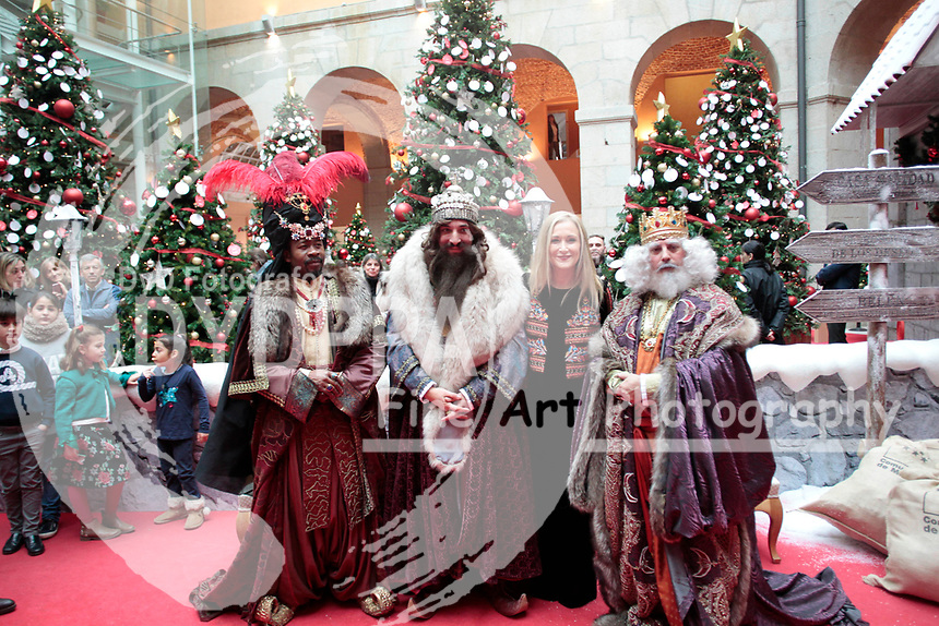 Madrid Comunity President, Cristina Cifuentes receives the Magic Kings, Wise men: Melchor, Gaspar and Baltasar at the Madrid Community Headquarter in Madrid on 2017 Jaunary 5th