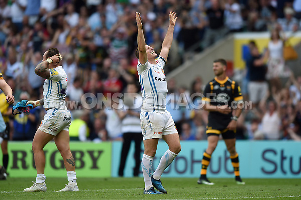 Gareth Steenson of Exeter Chiefs celebrates at the final whistle. Aviva Premiership Final, between Wasps and Exeter Chiefs on May 27, 2017 at Twickenham Stadium in London, England. Photo by: Patrick Khachfe / JMP