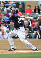 Dexter Fowler #24 of the Colorado Rockies plays in a spring training game against the Arizona Diamondbacks at Salt River Fields on February 26, 2011  in Scottsdale, Arizona. .Photo by:  Bill Mitchell/Four Seam Images.