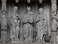 Jesus, as a baby, is presented in the temple, with St Simeon dressed as the high priest. The Presentation in the temple, by Francois Marchand of Orleans, 1542-44, from the choir screen, Chartres Cathedral, Eure-et-Loir, France. Chartres cathedral was built 1194-1250 and is a fine example of Gothic architecture. It was declared a UNESCO World Heritage Site in 1979. Picture by Manuel Cohen.