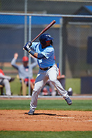 Tampa Bay Rays Wander Franco (4) bats during a Minor League Spring Training game against the Boston Red Sox on March 25, 2019 at the Charlotte County Sports Complex in Port Charlotte, Florida.  (Mike Janes/Four Seam Images)