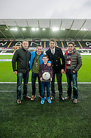 Sunday  14th   December 2014 <br /> Pictured: Match Ball Sponsors with Lukasz Fabianski of Swansea City <br /> Re: Barclays Premier League Swansea City v Tottenham Hotspur  at the Liberty Stadium, Swansea, Wales,UK