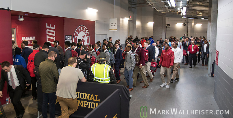 The Alabama Crimson Tide arrive at their locker room before the NCAA College Football Playoff National Championship at Mercedes-Benz Stadium on January 8, 2018 in Atlanta. Photo by Mark Wallheiser/UPI
