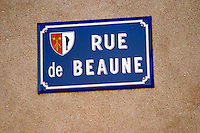 street sign rue de beaune monthelie cote de beaune burgundy france