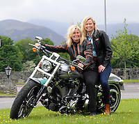 28-5-2015: repro free photo Ireland Bikefest. <br /> Motorbike enthusiasts Marjorie Rae and Breffni Ingerton pictured on the lates model Harley Davidson 'Brakeout Softail' motorbike as bikers from all over Europe arrive in Killarney for the annual Ireland Bikefest which runs over until Monday. Ireland&rsquo;s largest free open biker festival features all makes, models and manner of bikes and will include variety entertainment, music and novelty acts for the kids.<br /> Picture by Don MacMonagle