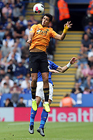 Raul Jimenez of Wolverhampton Wanderers and Çaglar Soyuncu of Leicester City during Leicester City vs Wolverhampton Wanderers, Premier League Football at the King Power Stadium on 11th August 2019
