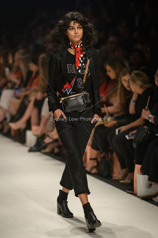 Melbourne, September 7, 2018 - A model wearing clothing from retailer Zadig & Voltaire walks at the Town Hall Closing Runway show in Melbourne Fashion Week in Melbourne, Australia. Photo Sydney Low
