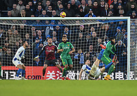 Brighton & Hove Albion's Shane Duffy (right) attempts to back kick at the Watford goal<br /> <br /> Photographer David Horton/CameraSport<br /> <br /> The Premier League - Brighton and Hove Albion v Watford - Saturday 2nd February 2019 - The Amex Stadium - Brighton<br /> <br /> World Copyright © 2019 CameraSport. All rights reserved. 43 Linden Ave. Countesthorpe. Leicester. England. LE8 5PG - Tel: +44 (0) 116 277 4147 - admin@camerasport.com - www.camerasport.com