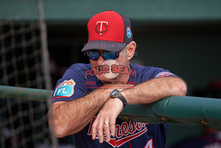 Minnesota Twins manager Paul Molitor (4) in the dugout during a Spring Training game against the Baltimore Orioles on March 7, 2016 at Ed Smith Stadium in Sarasota, Florida.  Minnesota defeated Baltimore 3-0.  (Mike Janes/Four Seam Images)