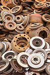 Staimen Recycling Center. Automobile brake drum rims.