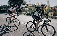 Jacques Janse van Rensburg (ZAF/Dimension Data) catching his feedbag<br /> <br /> Il Lombardia 2017<br /> Bergamo to Como (ITA) 247km