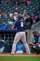 San Antonio Missions second baseman Diego Goris (2) at bat during a game against the NW Arkansas Naturals on May 30, 2015 at Arvest Ballpark in Springdale, Arkansas.  San Antonio defeated NW Arkansas 5-2.  (Mike Janes/Four Seam Images)