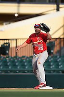 Palm Beach Cardinals first baseman Luke Voit (25) stretches for a throw during a game against the Lakeland Flying Tigers on April 13, 2015 at Joker Marchant Stadium in Lakeland, Florida.  Palm Beach defeated Lakeland 4-0.  (Mike Janes/Four Seam Images)