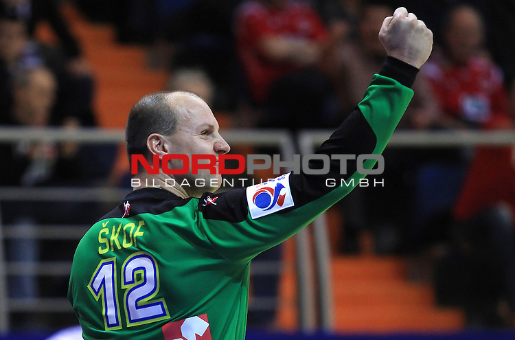 18.01.2012., Millennium Hall, Vrsac, Srbija - 10th men's european handball championship, group D, Slovenia - Croatia. Gorazd Skof. <br /> <br /> Foto &copy;  nph / PIXSELL / Antonio Bronic