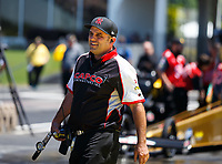 May 7, 2017; Commerce, GA, USA; Crew member for NHRA top fuel driver Steve Torrence during the Southern Nationals at Atlanta Dragway. Mandatory Credit: Mark J. Rebilas-USA TODAY Sports
