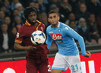Gervinho  Faouzi Ghoulan    in action during the Italian Serie A soccer match between SSC Napoli and AS Roma   at San Paolo stadium in Naples, March 09 , 2014