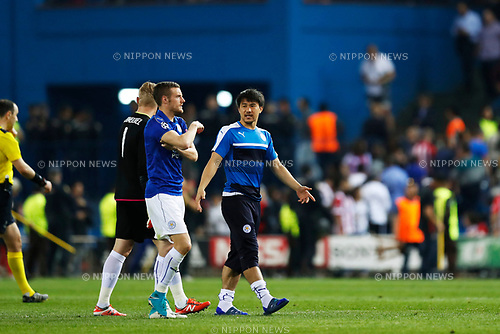 Jamie Vardy, Shinji Okazaki (Leicester), APRIL 12, 2017 - Football / Soccer : UEFA Champions League Quarter-finals 1st leg match between Club Atletico de Madrid 1-0 Leicester City at Estadio Vicente Calderon in Madrid, Spain. (Photo by D.Nakashima/AFLO)