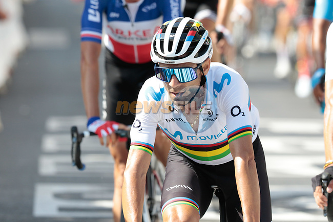 World Champion Alejandro Valverde (ESP) Movistar Team crosses the finish line at the end of Stage 3 of the 2019 Tour de France running 215km from Binche, Belgium to Epernay, France. 8th July 2019.<br /> Picture: Colin Flockton | Cyclefile<br /> All photos usage must carry mandatory copyright credit (© Cyclefile | Colin Flockton)