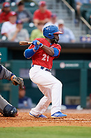 Buffalo Bisons left fielder Dwight Smith Jr. (21) grounds out during a game against the Lehigh Valley IronPigs on June 23, 2018 at Coca-Cola Field in Buffalo, New York.  Lehigh Valley defeated Buffalo 4-1.  (Mike Janes/Four Seam Images)