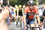 Vincenzo Nibali (ITA) Bahrain-Merida arrives at sign on before the start of Stage 13 of the 2019 Giro d'Italia, running 196km from Pinerolo to Ceresole Reale (Lago Serrù), Italy. 24th May 2019<br /> Picture: Fabio Ferrari/LaPresse | Cyclefile<br /> <br /> All photos usage must carry mandatory copyright credit (© Cyclefile | Fabio Ferrari/LaPresse)